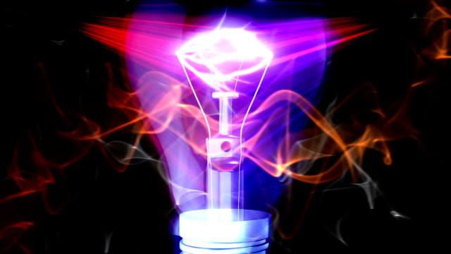 Lightbulb animation with electric discharge