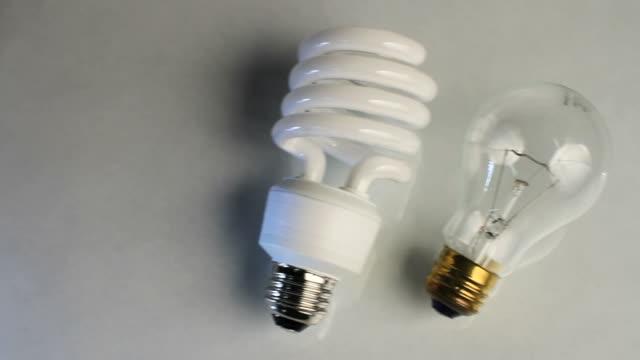 glühbirne pan alten zum neuen led-up - led leuchtmittel stock-videos und b-roll-filmmaterial