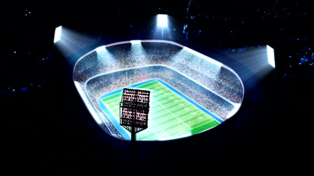 Lighted American football stadium. video