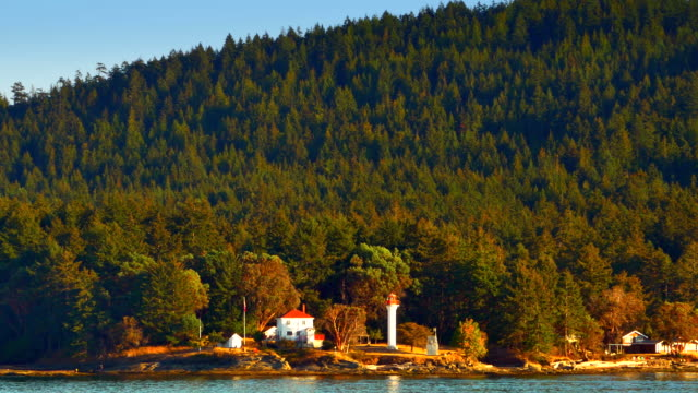 Lighthouse and House on Ocean Island, Sea and Island Landscape, Dusk Sunset video