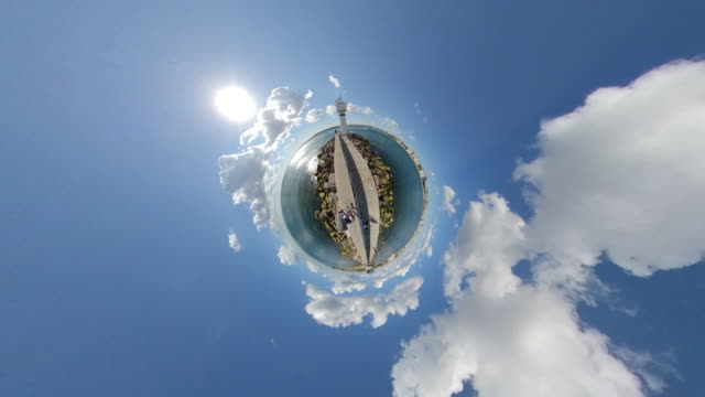 lighthouse and jetty as tiny little planet look at istanbul kadikoy 360 degree - fish eye video stock e b–roll