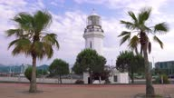 istock Lighthouse and palms on the boulevard 1321278618