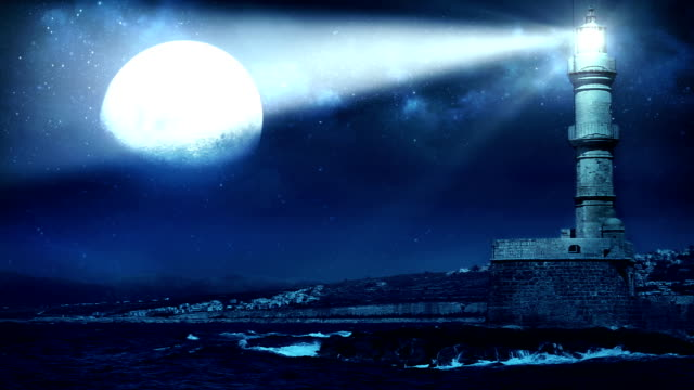 leuchtturm full moon - leuchtturm stock-videos und b-roll-filmmaterial