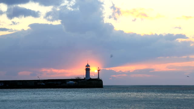 Lighthouse in Yalta at sunrise, Crimea video