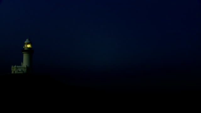 Lighthouse on Sea Cliff Blue Night Seamless Loop video