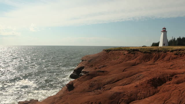 Lighthouse Standing on edge of Prince Edward Island Lighthouse, Dusk - Prince Edward Island, Dusk low lighting stock videos & royalty-free footage
