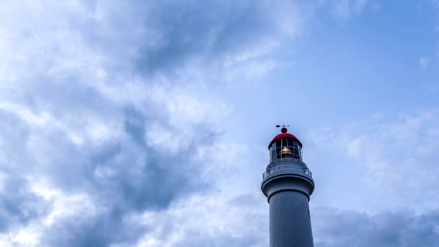 lighthouse,clouds and skyline in Australia,timelapse. video