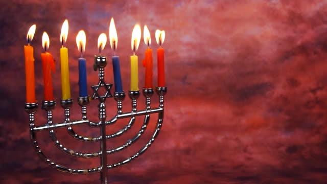 ハヌカ(ユダヤ教のお祭り)キャンドル慈善パーティの照明 - ハヌカー祭点の映像素材/bロール