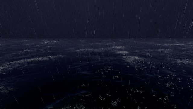vídeos de stock e filmes b-roll de lightning above stormy sea ocean - transatlântico