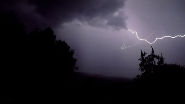 Lightning above the forest video