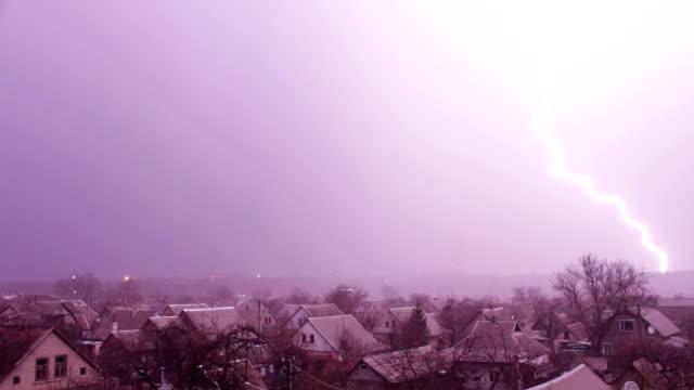 Lightning and thunderstorm at night video