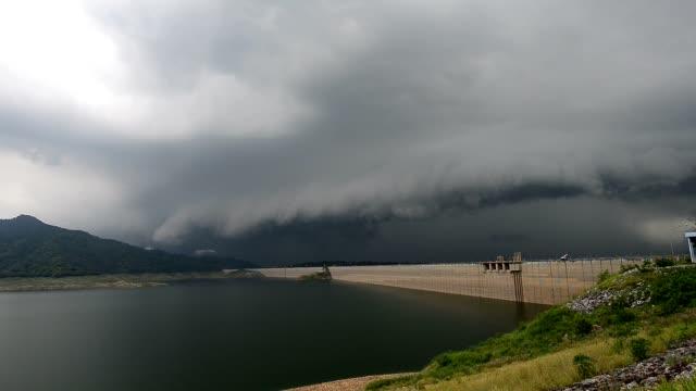 Lightning and thunderstorm over huge dam. video
