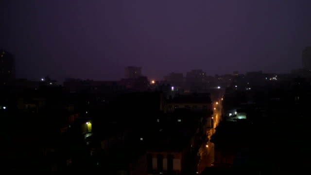 Lightning during Thunderstorm at Night, Havana, Cuba video