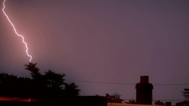 Lightning strikes in 4K Massive thunderstorm in 4K. lightning stock videos & royalty-free footage