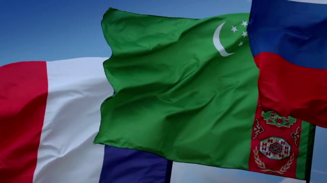 Lightning strikes in French flag. Turkmen, Russian flags. France, Turkmenistan video