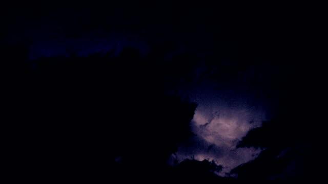 Lightnings behind clouds video