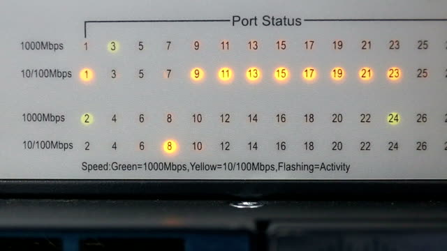 Lights and connections status on network server. video