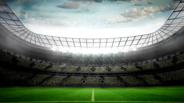 Lights flashing in large football stadium video