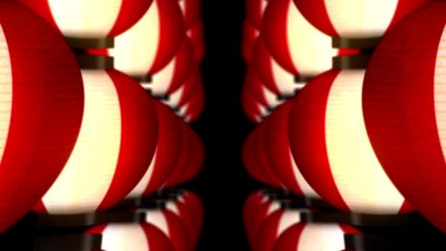 lights of japanese paper lanterns, loop animation, - японский фонарь стоковые видео и кадры b-roll