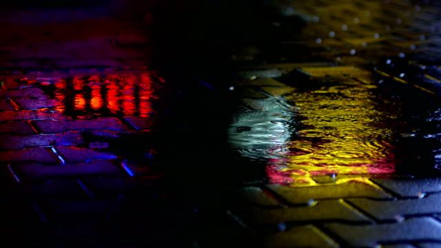 Lights reflection  on paving, Night