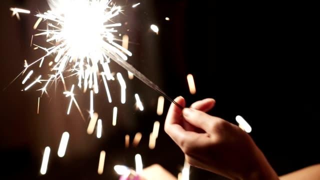 Lights sparkles at night video