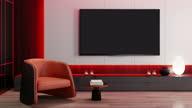 istock RGB Lights Yellow Red on off Fast Loop -  TV Room modern minimalist interior with 8K TV 1288532845