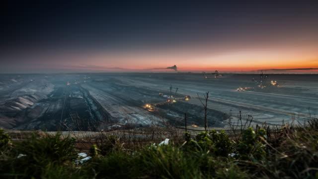 lignite surface mine - timelapse tracking shot - уголь стоковые видео и кадры b-roll