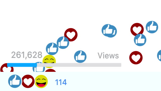 like icons, smiley face and heart icons on a social media platform. counting bar and bright background. - tiktok стоковые видео и кадры b-roll