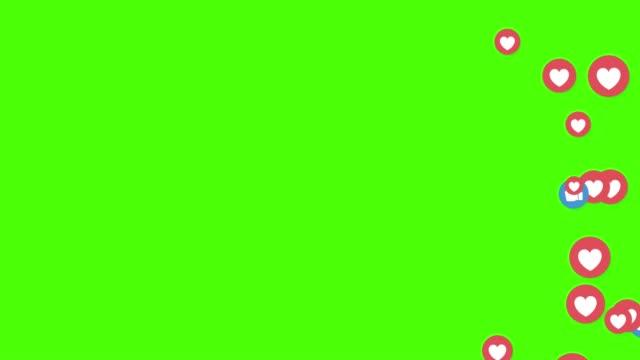 come, pollice in su, icone blu e cuori video in diretta isolati su sfondo verde. social media network marketing. pubblicità delle applicazioni - icona mi piace video stock e b–roll