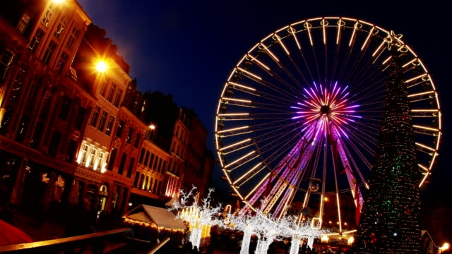 Lille, France at Christmas time : Ferris wheel at main square video