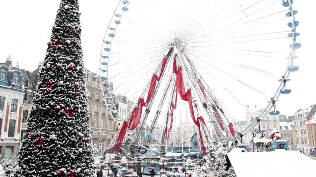 Lille, France : snow fall at Christmas time video