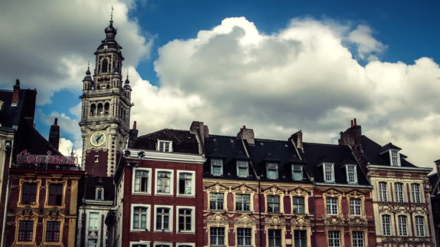 vidéos et rushes de lille, hauts de france : time lapse de l'architecture classique français - nord
