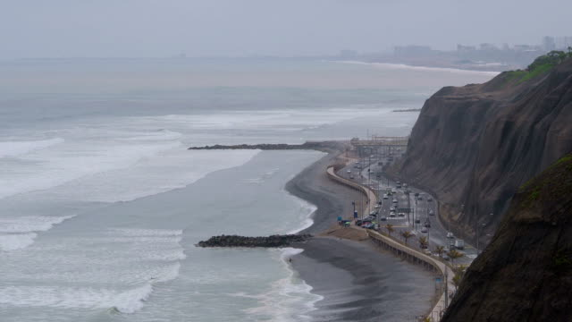 Lima Coastline Closeup View video