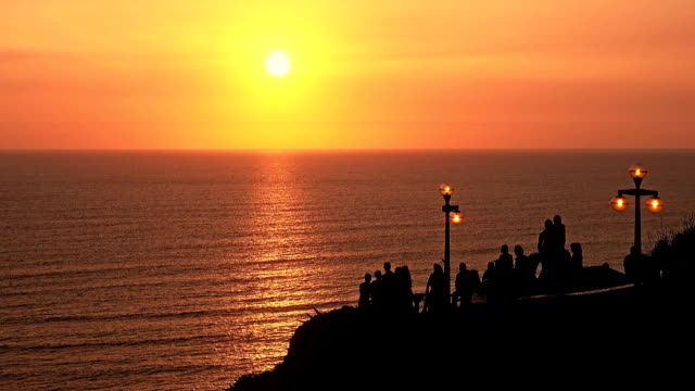 Lima Peru broadwalk sunset with people silhouettes video