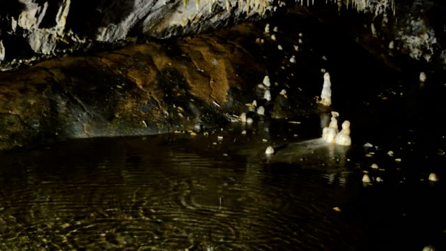 Limestone formations in a cave video