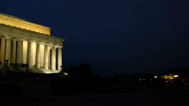 Lincoln Memorial at Dusk Lincoln Memorial at Dusk pan showing beautiful architecture and with various pedestrians in the scene. Shot with a Canon C300 in 1080p. martin luther king stock videos & royalty-free footage