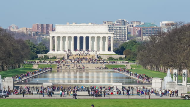 Lincoln Memorial at the National Mall. Washington DC Time lapse of people at Lincoln Memorial in Washington DC national landmark stock videos & royalty-free footage