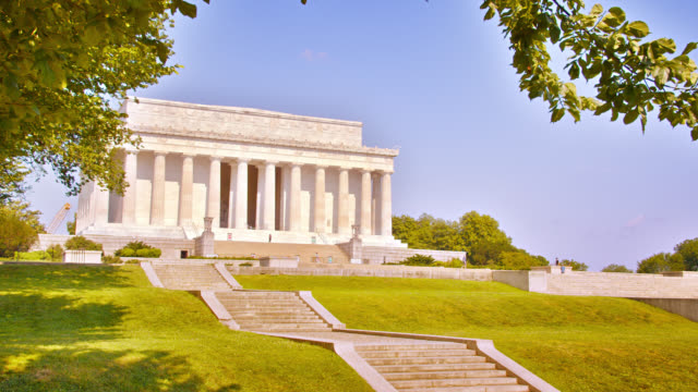 Lincoln Memorial on a Hill. Mountain. Tree Leafs.