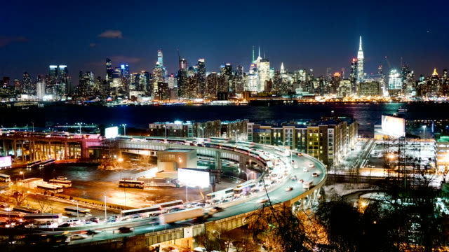 Lincoln Tunnel and New York City Skyline at dusk video