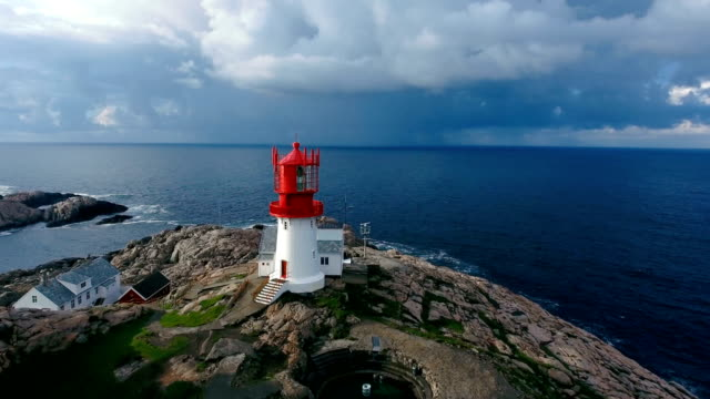 Lindesnes Fyr Lighthouse, Norway Lindesnes Fyr Lighthouse, Beautiful Nature Norway natural landscape aerial footage. south stock videos & royalty-free footage