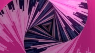 istock Line art striped hypnotic tunnel. Abstract colored futuristic background on old scratched surface. 3d rendering seamless loop animation. 4K, Ultra HD resolution 1227218928