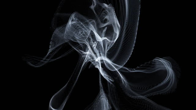 3D line art wave smoke movement dark overlay backgrounds, abstract black backgrounds.