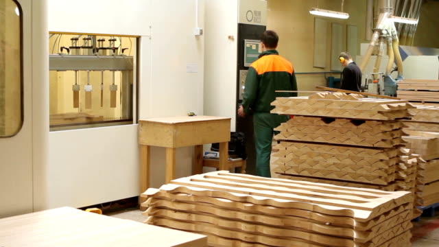 Line for processing wood at the woodworking and furniture plant video