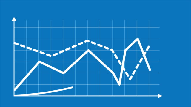 Line graph chart with arrows axis and grid. Grow chart business concept. Chart animation for yours presentation.