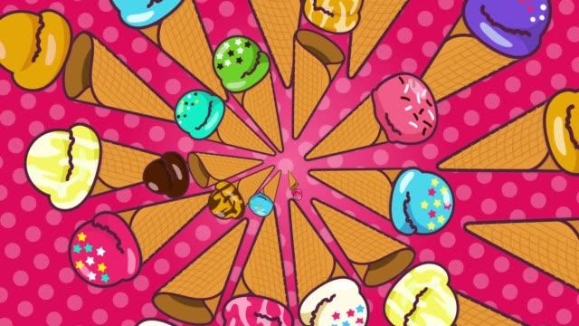 line of ice cream [loop] - pop art video stock e b–roll