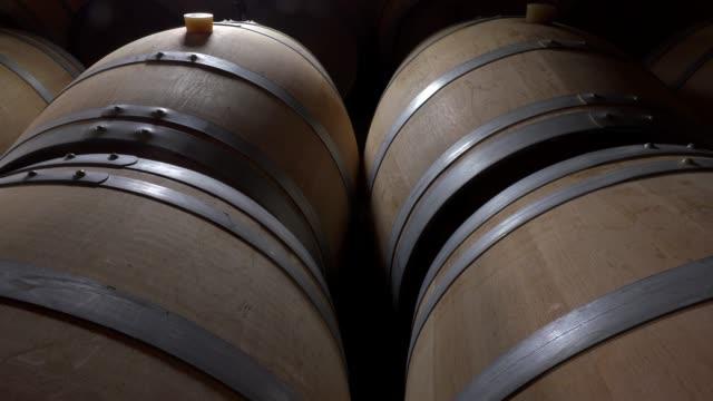 Line of oak barrel in a cellar for a wine perfect fermentation, Bordeaux Vineyard, France