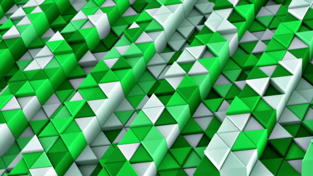 Linear extruded triangles abstract 3D render loop animation video
