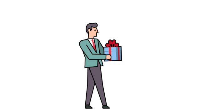 リニアスタイルフラットスティックフィギュアピクトグラムカラービジネスマンキャラクターとギフトボックスアニメーションルママット - アイコン プレゼント点の映像素材/bロール