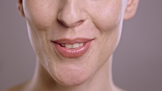 Lips of a Caucasian woman talking