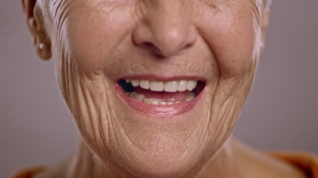 Lips of a senior Caucasian woman talking video